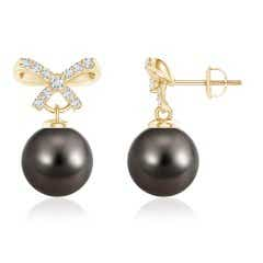 Tahitian Cultured Pearl and Diamond Bow Earrings