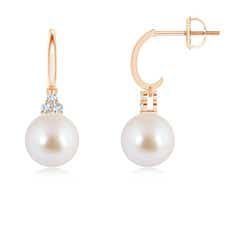 Dangling Akoya Cultured Pearl Hoop Earrings with Trio Diamonds