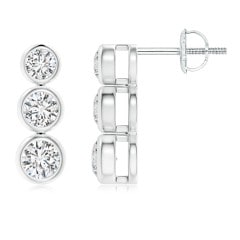 Classic Bezel-Set Diamond Three Stone Stud Earrings