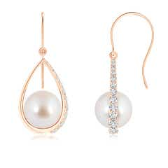 Akoya Cultured Pearl Teardrop Earrings with Diamonds
