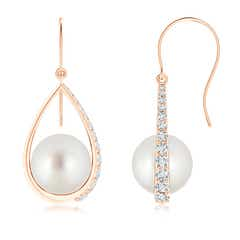 Angara South Sea Cultured Pearl Teardrop Earrings with Diamonds 6T6yvPiT0i
