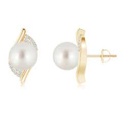 South Sea Cultured Pearl Bypass Earrings with Diamonds