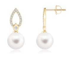 Freshwater Cultured Pearl Flame Drop Earrings with Diamond Accents