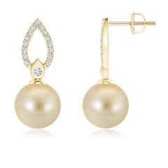 Golden South Sea Cultured Pearl Flame Drop Earrings with Diamond Accents