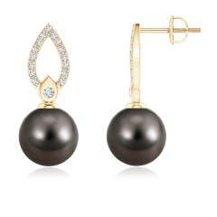 Tahitian Cultured Pearl and Diamond Flame Drop Earrings
