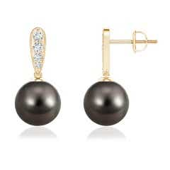 Tahitian Cultured Pearl Dangling Drop Earrings with Diamond Accents