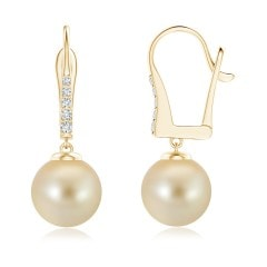 Golden South Sea Cultured Pearl Leverback Earrings