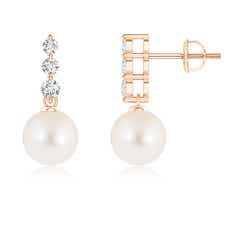 Freshwater Cultured Pearl Drop Earrings with Graduated Diamonds