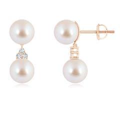 Angara Akoya Cultured Pearl Drop Earrings with Trio Diamonds 1iiEzu7