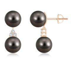 Tahitian Cultured Pearl Drop Earrings with Trio Diamonds