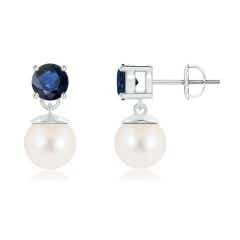 Two Stone Freshwater Cultured Pearl and Sapphire Dangle Earrings