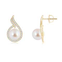 Angara Akoya Cultured Pearl and Diamond Leaf Earrings TOBWPk