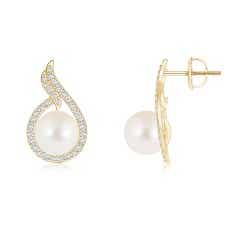 Angara Freshwater Cultured Pearl Earrings with Diamond Swirl n0FPK