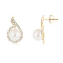 Ball Shaped FreshWater Cultured Pearl Earrings with Diamond Swirl Frame