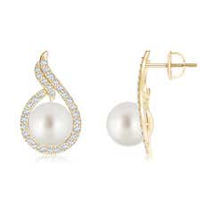 Ball Shaped South Sea Cultured Pearl Earrings with Diamond Swirl Frame