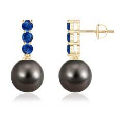 Classic Tahitian Cultured Pearl and Sapphire Earrings