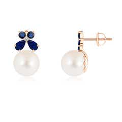 FreshWater Cultured Pearl Solitaire Earrings with Sapphire Butterfly
