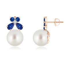 South Sea Cultured Pearl and Sapphire Butterfly Earrings