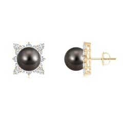 Tahitian Cultured Pearl and Diamond Cluster Halo Studs