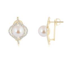 Akoya Cultured Pearl Omega Back Double Halo Earrings