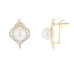 Freshwater Cultured Pearl Omega Back Double Halo Earrings