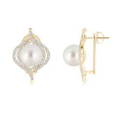 Angara South Sea Cultured Pearl and Sapphire Butterfly Earrings