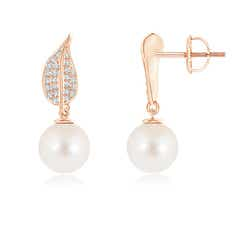 Leaf Shaped FreshWater Cultured Pearl and Diamond Dangle Earrings