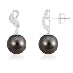 Tahitian Cultured Pearl Dangle Earrings with Swirl Diamond Accents