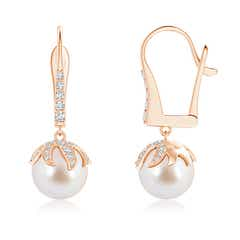 Akoya Cultured Pearl Starfish Earrings with Diamond Accents