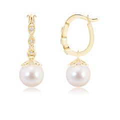 Infinity Wave Akoya Cultured Pearl Dangle Earrings