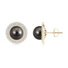 Tahitian Cultured Pearl Double Halo Stud Earrings with Diamonds
