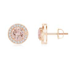 Angara Oval Morganite Solitaire Studs with Diamond Leaf Motif 8s9FWDM