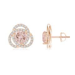Round Morganite Celtic Knot Stud Earrings with Diamond