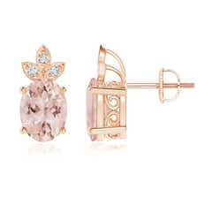 Oval Morganite Solitaire Stud Earrings with Diamond Studded Leaf Motifs