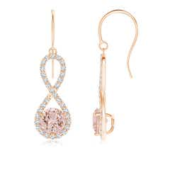 Floating Morganite Infinity Drop Earrings with Diamond