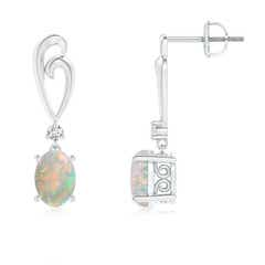 Solitaire Oval Opal Swirl Drop Earrings with Diamond