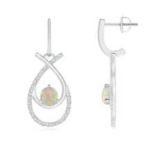 Ribbon Cross Round Opal and Diamond Drop Hoop Earrings