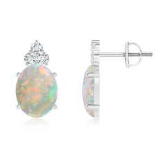 Classic Oval Opal Solitaire Stud Earrings with Trio Diamonds