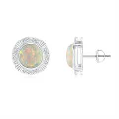 Art Deco Inspired Bezel Set Opal Stud Earrings with Diamonds