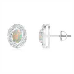 Classic Opal Pinwheel Stud Earrings with Diamonds