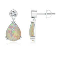 Pear Opal Drop Earrings with Bezel Diamond