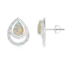 Opal Teardrop Stud Earrings with Diamonds