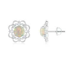 Vintage Inspired Opal and Diamond Fleur De Lis Flower Earrings