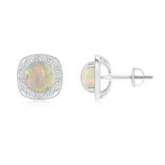 Milgrain-Edged Round Opal and Diamond Halo Earrings