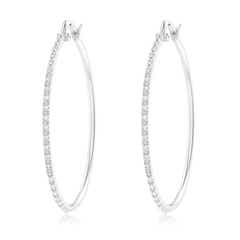 Classic Round Diamond Latch Hoop Earrings