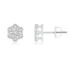 Pressure Set Diamond Cluster Stud Earrings
