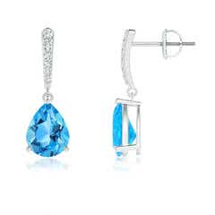 Solitaire Swiss Blue Topaz Drop Earrings with Linear Diamonds