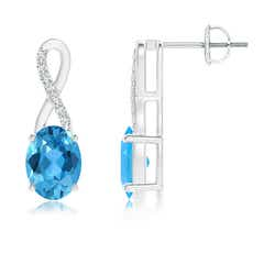 Solitaire Oval Swiss Blue Topaz and Diamond Ribbon Earrings