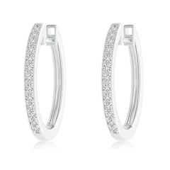 Pave-Set Diamond Hinged Hoop Earrings