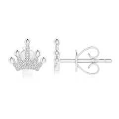 Round Diamond Tiara Stud Earrings